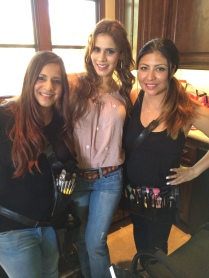 on set with Andres Rincon Latina Reality Tv Star, Tv show Host, Celebrity makeup artist