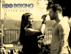 Erika key MUAH on HBO set with world champion boxer Canelo Alvarez